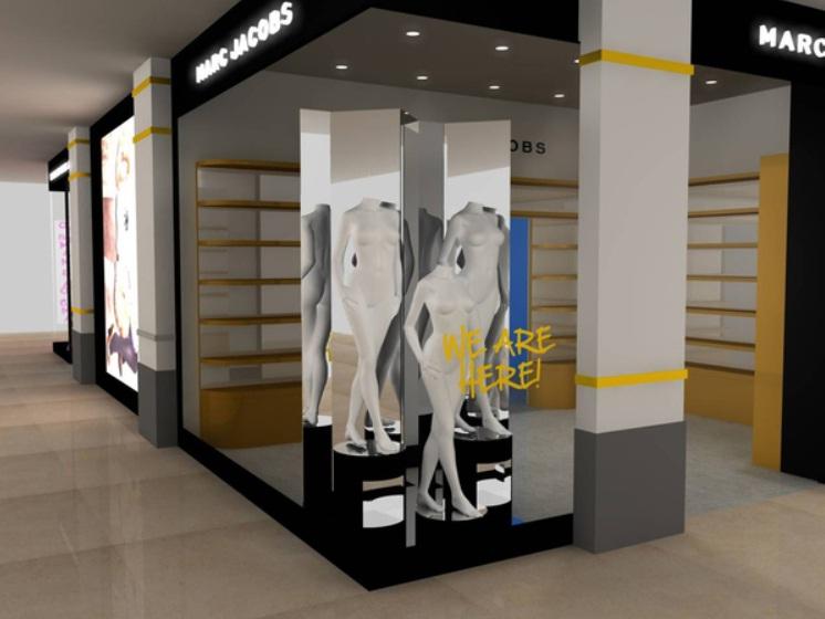 Croqui da vitrine da loja do estilista Marc Jacobs no shopping Iguatemi, em  São Paulo e64996c144